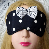Polka Dot Sleeping Mask in Black and White with Bow