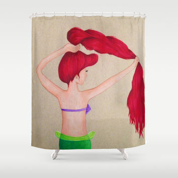 The little mermaid shower curtain by sierra christy art society6