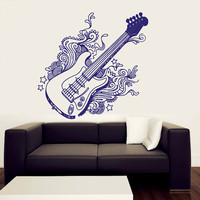 Wall Decal Vinyl Sticker Decals Art Decor Design Guitar Electro Music Waves Live Band Rock Star Pattern Damask Mans Gift Bedroom Dorm (r428)