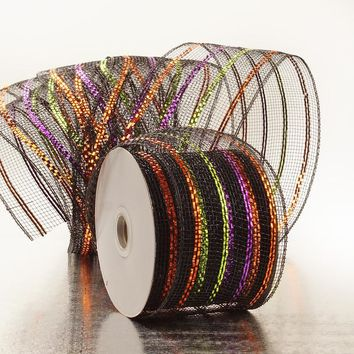 Black Copper Purple Lime Green Stripes 4 inch x 20 yards Thick Metallic Striped Sparkle Deco Mesh Wreath Decorative Ribbon