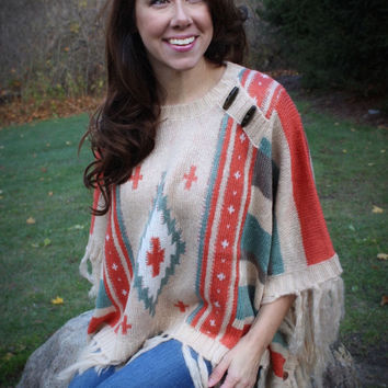 Aztec Pattern Fringed Sweater