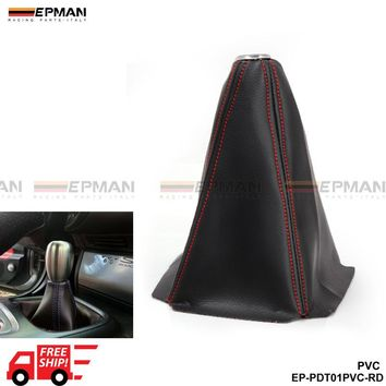 PIVOT - Universal JDM Gear Shift Shifter Boot Cover Black PVC AT MT Stitch Red Blue Yellow EP-PDT01PVC-FS