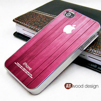 light silvery iphone 4 case iphone 4s case iphone 4 cover pink  wood texture pink style unique Iphone case design