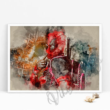 Deadpool Watercolor Art Poster, Inspired by Deadpool movie, Superhero Print, gift for him, birthday gift, gift for brother