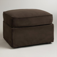 Chocolate Brown Velvet Loose-Fit Luxe Ottoman Slipcover - World Market