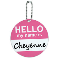 Cheyenne Hello My Name Is Round ID Card Luggage Tag