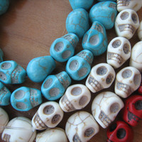 Howlite skull beads 14mm 3 strands Turquoise, Red and White