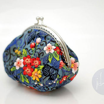 Summer oriental floral coin purse, vintage floral cotton purse, metal frame, hand sewing, quilt, clutch purse, teenage girls,women accessory