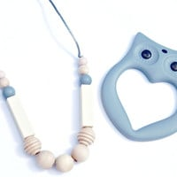 Teething Necklace And Owl Teether Set Silicone Necklace Silicone Bead New Mom Gift/ Teething Baby/ Baby Shower Gift/ Nursing Necklace/