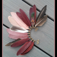 Hoopoe, Feather, ear, cuff, earcuff, tribal, gypsy, boho, bohemian, statement, red, festival, photo, shoot, prop, native, american, style