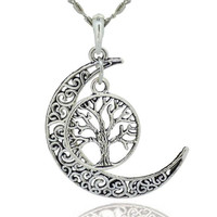 Tree Of Life With Filigree Moon Pendant Necklace