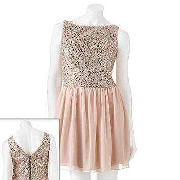 Speechless Sequin Fit and Flare Skater Dress - Juniors