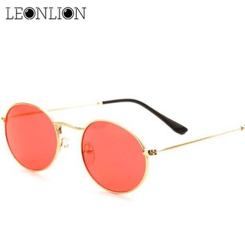 LeonLion Candy Color Ocean Lenses Sunglasses Women/Men Oval Glasses Lady  Luxury Retro Sun Glasses Vintage Mirror oculos de sol