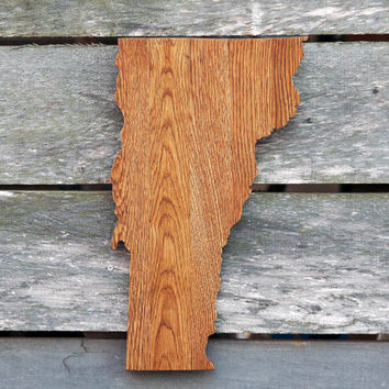 Vermont state shape wood cutout sign wall art. Handcrafted, repurposed Oak flooring 11x18 in. Wedding Country Chic Cabin Rustic Gift Decor
