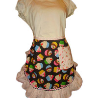 Black Apron Cherries Cupcake Retro Style Half Apron Ruffles Womans Cute Apron Sexy Hostess Party