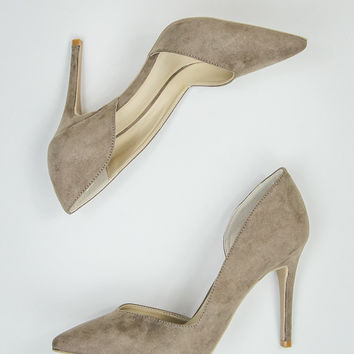 Faux Suede Pumps in Taupe