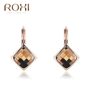 ROXI Hot Champagne Gold ear drop pattern Delicate Large zircon Earrings,Gift to girlfriend, handmade fashionable  Earrings