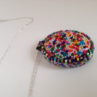 Candy Necklace Sprinkles Pendant Rainbow Jewelry by picassogiraffe