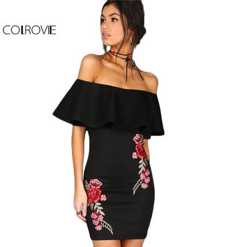 COLROVIE Summer Dress Women Black Sexy Off Shoulder Embroidery Party Dresses  Rose Applique Ruffle Elegant Bodycon Dress