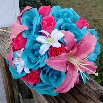 Malibu Blue Hot Pink Rose Coral Lily Wedding Bouquet, Coral Turquoise Bouquet