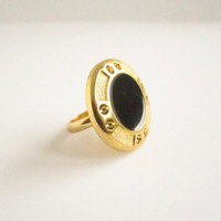 Black Art Deco Enamel Ring- Vintage Button Ring, Gold adjustable ring, button ring, statement ring, bridesmaid gift, gold plated ring, April