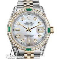 Unisex Rolex SS & Gold 36mm Datejust Watch White MOP 8+2 Emerald Diamond Dial