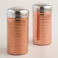 Hammered Copper Salt and Pepper Shakers, Set of 2