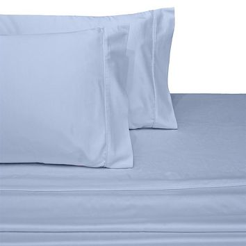 Super Single BLUE Waterbed Attached Sheets Solid 100% Combed cotton 300 Thread count