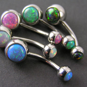 Gorgeous Fire Opal Belly Rings ~ Healing Body Jewelry Navel Ring Blue White Pink Green Black 14g 316L Belly button rings