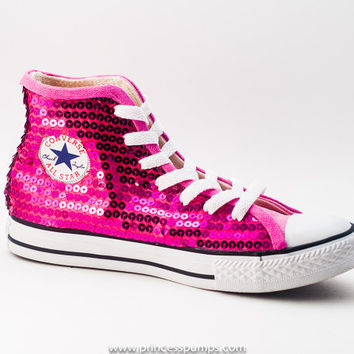 0a9ca082e428 Hot Fuchsia Pink Sequin Converse All Star from Princess Pumps