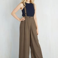 Menswear Inspired Suspender Conference Room Coffee Pants in Brown