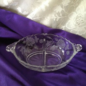 Heisey Glass Rose Etched Divided Dish Dressing Mayo Oval Bowl Waverly Style 1949-57 Discontinued