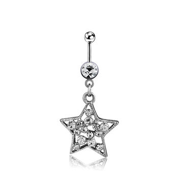 New Charming Dangle Crystal Navel Belly Ring Bling Barbell Button Ring Piercing Body Jewelry = 4804888708