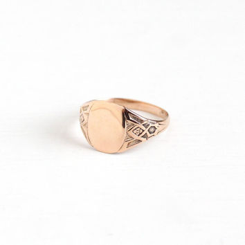Antique Art Nouveau 10k Rose Gold Oval Blank Signet Ring - Vintage Edwardian 1910s Size 7 3/4 Monogram Personalize Fine Flower Jewelry