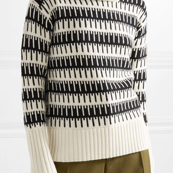 Theory - Wyndora intarsia wool and cashmere-blend turtleneck sweater