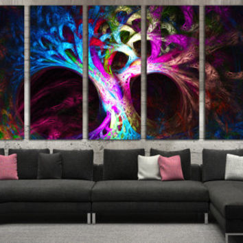 Abstract Tree Poster Print - Psychedelic Tree Canvas Print, Mysterious Abstraction Large Wall Art for Home or Office Decoration