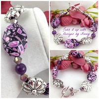 Purple Mosaic Glass Pink Rose Decorative Silver Handmade Beaded Bangle