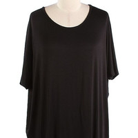 Our Everyday Short Sleeve Piko Style Tunic - Black