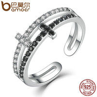 BAMOER New Collection 925 Sterling Silver Double Layer Cross Symbol Finger Ring for Women Sterling Silver Jewelry SCR035