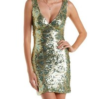 Gold Combo Open Back Geometric Sequin Dress by Charlotte Russe