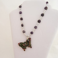Amethyst and Silver Colour Pearls Necklace, Amethyst Necklace with Chunky Butterfly Pendant, Big Glass Butterfly Pendant