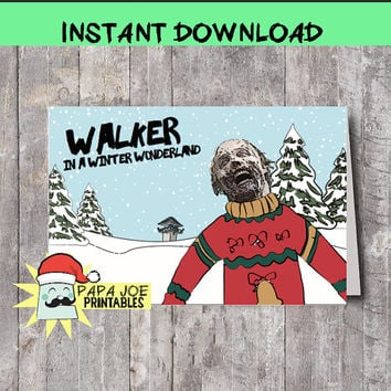 The Walking Dead Printable Christmas Card INSTANT DOWNLOAD funny Christmas Card- Walking dead