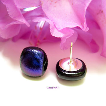 Fused Dichroic Glass Post Earrings - Eggplant Purple Songs of Midnight by Umeboshi Jewelry Designs Small Midnight Purple Stud Earrings