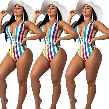 Summer New Fashion Multicolor Stripe Straps One Piece Bikini Swimsuit