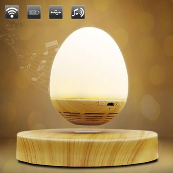 LED Bulb Magnetic Levitating Bluetooth Speaker Wood Grain Base Floating Maglev Speaker Night Light Lamp EU US UK AU Plug Gift