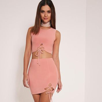 Fashion Solid Color Irregular Crisscross Bandage Sleeveless Crop Tops Short Skirt Set Two-Piece