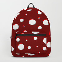Red mushroom pattern, asymetric shadowed polka dots, mixed circles size, vintage themed, classic Backpacks by Casemiro Arts - Peter Reiss