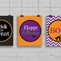 Halloween Decor -  Trick or Treat - Boo - Happy Halloween, Halloween Art, Instant Download, 3 PRINTABLE 8x10s, Halloween Wall Art