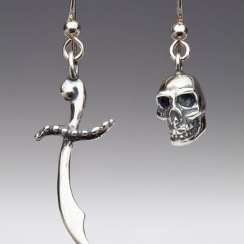 Skull And Scimitar Earrings Silver - Skull Earrings - Scimitar Earrings - Sword Earrings - Skull Jewelry - Sword Jewelry - Pirate Jewelry