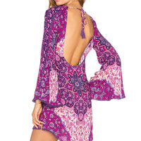 Spell & The Gypsy Collective Kiss the Sky Bell Sleeve Mini in Violet